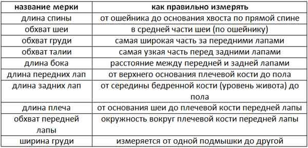 Таблица основных мерок