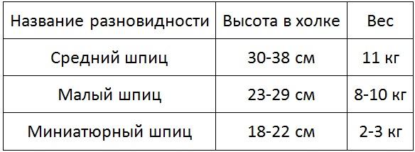 Таблица высоты в холке